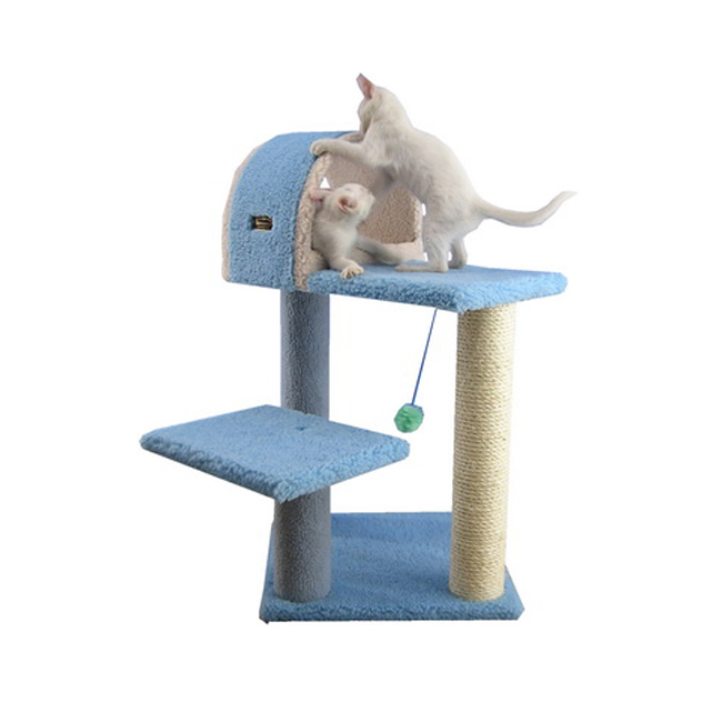Armarkat 66-Inch Wooden Step Cat Tower Tree Condo Scratcher Kitten House in Sku blue