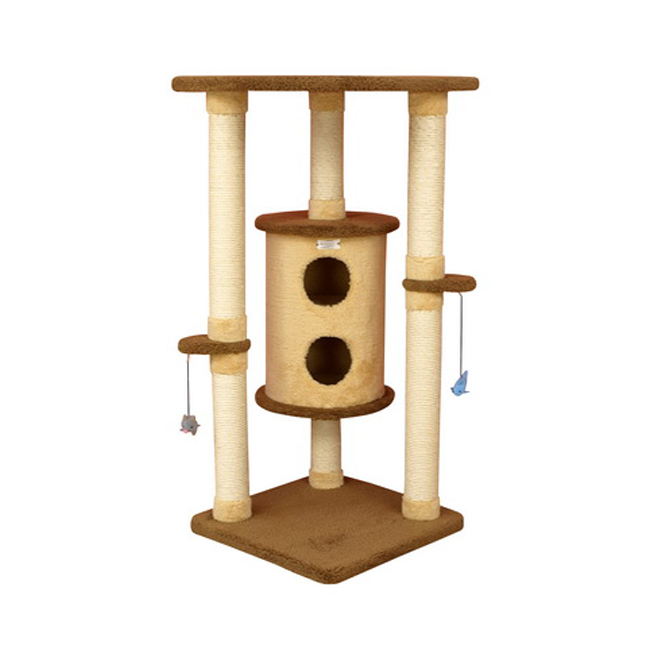 Armarkat 44-Inch Wooden Premium Cat Tower Tree Kitten House in Golden Rod and Tan
