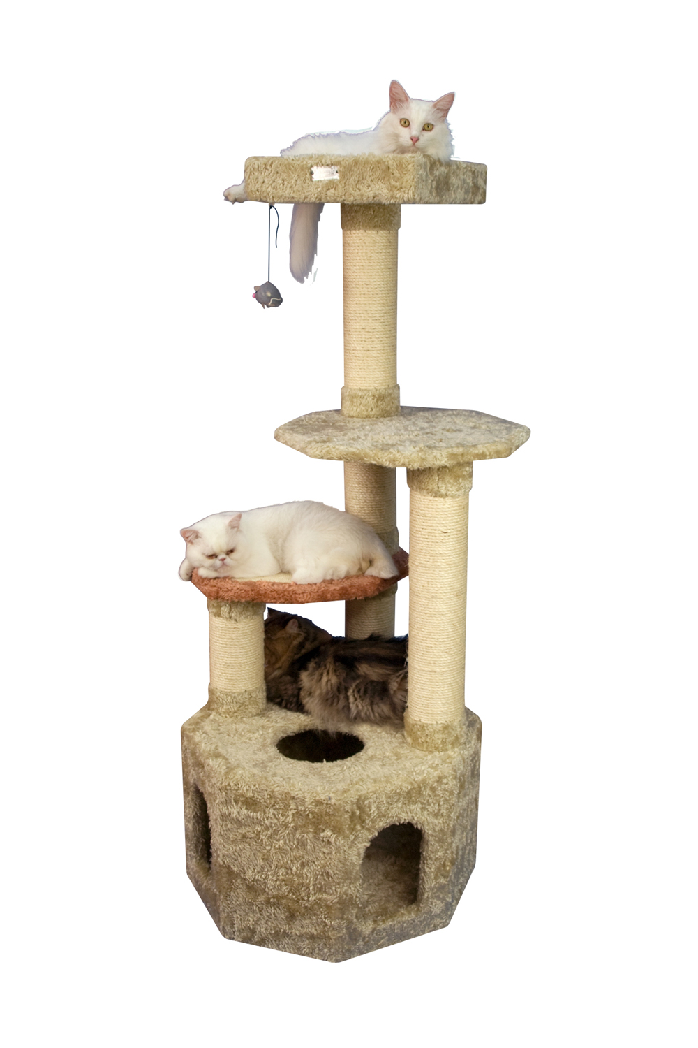 Armarkat 57-Inch Soft Heavy Wooden Premium Cat Tower Tree in Khaki