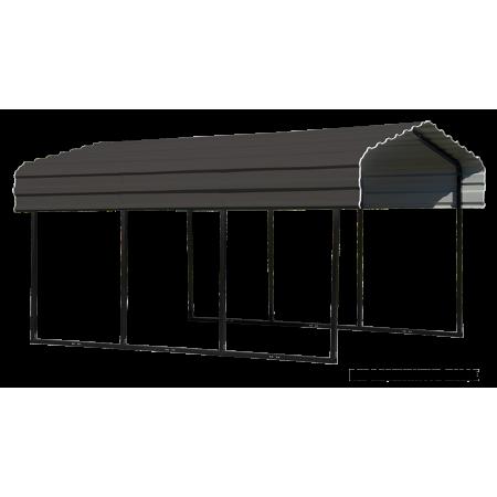 STEEL CARPORT 10 X 24 X 7 FT GALVANIZED BLACK/EGGSHELL (BOX 1 OF 7)