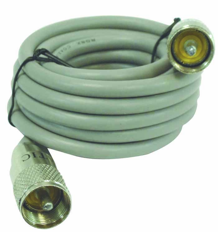 9' PL TO PL RG8X GREY COAX WITH ASTATIC PLUGS