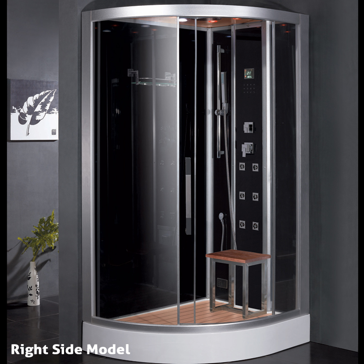 Ariel Platinum Right Steam Shower with Steam Sauna, Black