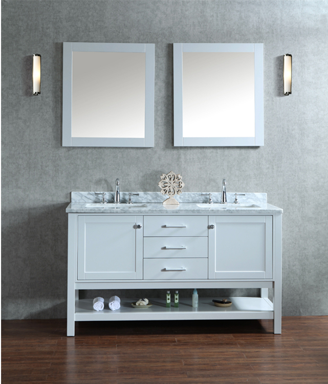 """Bayhill 60"""" Double-Sink Bathroom Vanity Set With 2 Mirrors - Cloud Grey"""