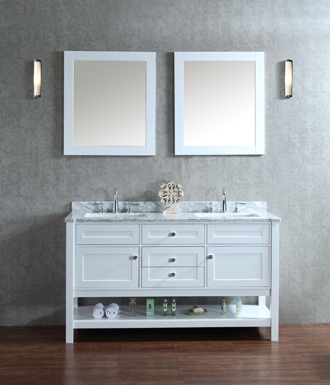 """Mayfield 60"""" Double-Sink Bathroom Vanity Set With 2 Mirrors - Alpine White"""