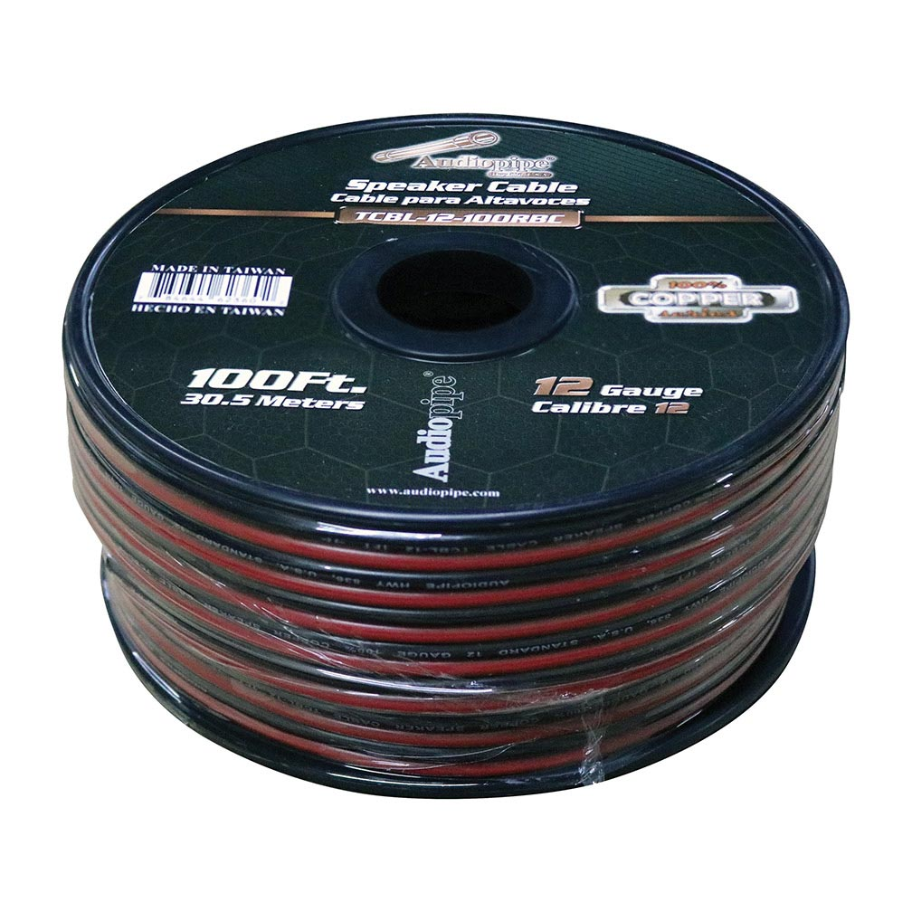Audiopipe 12 Gauge 100% Copper Series Speaker Wire - 100 Foot Roll - RED/BLACK  Jacket
