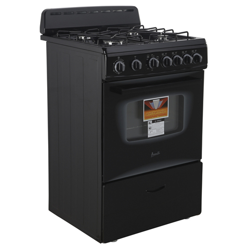 "Avanti 24"" Gas Range Sealed Burners Blk"