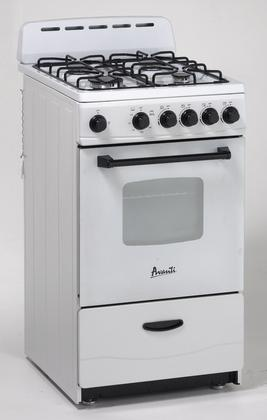 "Avanti 20"" Gas Range Sealed Burners White"