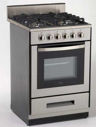 "24"" gas range, stainless steel front with black sides"