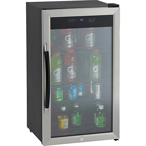 3.0 CF Beverage Cooler,Black w/ Stainless Trim Glass Door