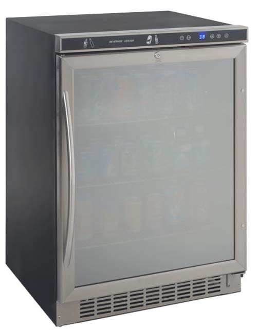 4.8 cu.ft. built-in refrigerator/beverage center, stainless steel frame w/ dual-pane glass door