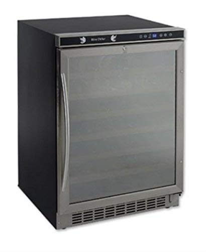 54 Bottle, Built-In or Free-Standing Wine Cooler, stainless steel frame w/ mirror finish door