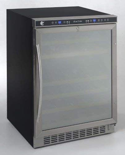 46 bottle, dual zone, built-in or free-standing wine cooler, stainless steel frame w/ mirror finish door