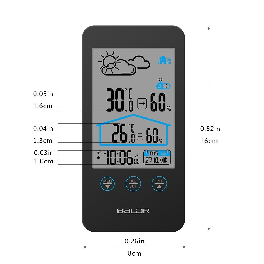 BALDR WS0201BL1 WEATHER STATION INDOOR & OUTDOOR TEMPERATURE