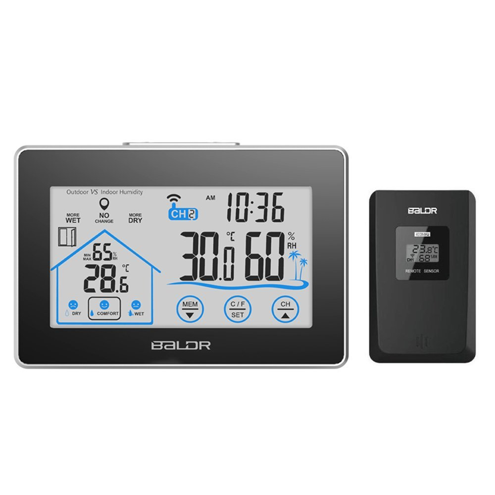 BALDR WS0317BL2 WEATHER STATION TOUCH SCREEN RECORDS