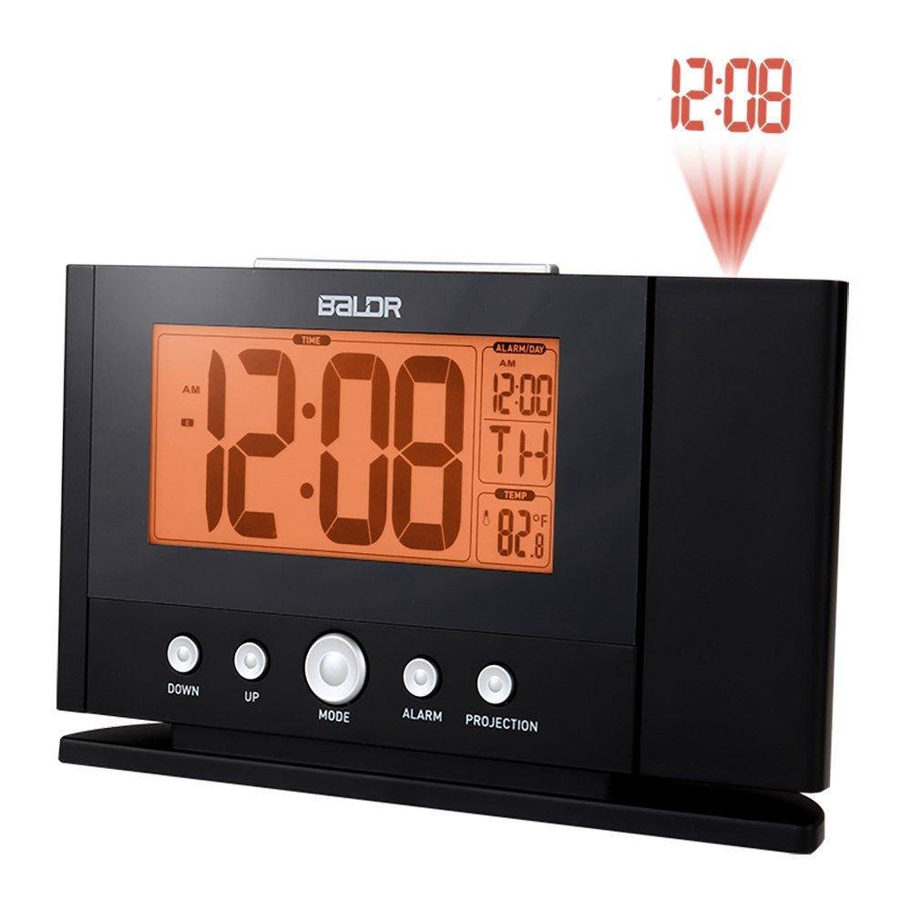 BALDR CL0211BL6 DIGITAL PROJECTION ALARM CLOCK 12 24 HR