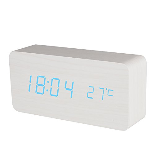 BALDR CL0929WB1 WHITE DIGITAL WOODEN ALARM CLOCK APPEARS