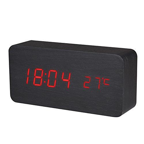 BALDR CL0929BR1 BLACK DIGITAL WOODEN ALARM CLOCK  APPEARS