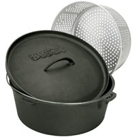 Barbour Bayou Classic 7460 Dutch Oven With Lid and Basket, 8.5 qt Capacity, 11-1/2 in Dia X 5 in H