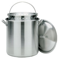 Barbour Bayou Classic Restaurant Grade Stock Pot With Vented Lid/Perforated Basket, 120 qt Capacity