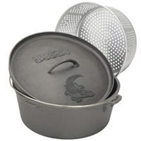Barbour Bayou Classic Heavy Duty Dutch Oven With Lid and Perforated Aluminum Basket, 20 qt Capacity