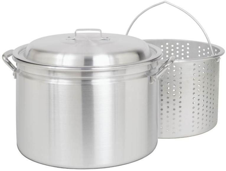 Bayou Classic 24 Quart Aluminum Stock Pot with Basket and Vented Lid