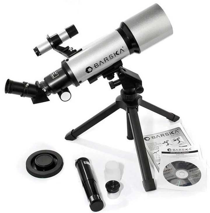 Barska 300 Power 40070 Starwatcher Compact Refractor  Silver w/ Table Top Tripod & Carrying Case