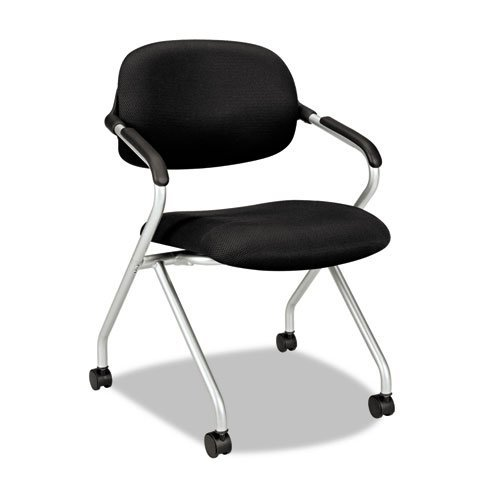 VL303 Series Nesting Arm Chair, Black/Silver