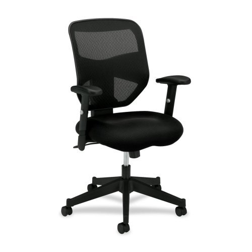 VL531 Series High-Back Work Chair, Mesh Back, Padded Mesh Seat, Black