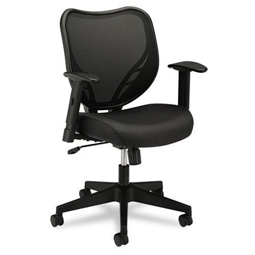 VL551 Series Mid-Back Swivel/Tilt Chair, Fabric Seat, Mesh Back, Black