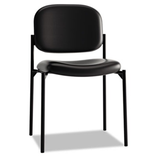 VL606 Series Stacking Armless Guest Chair, Black Leather
