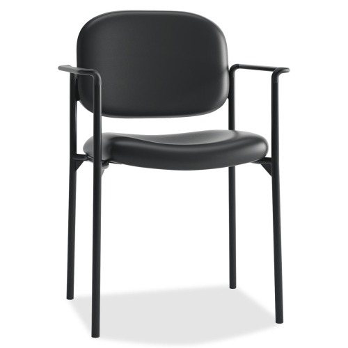 VL616 Series Stacking Guest Chair with Arms, Black Leather
