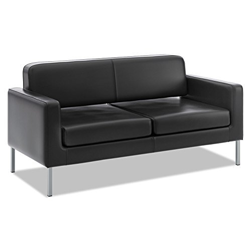 VL888 Series Reception Seating Sofa, 67 x 28 x 30 1/2, Black SofThread� Leather