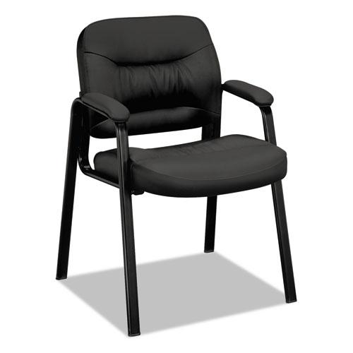 VL640 Series Leather Guest Leg Base Chair, Black