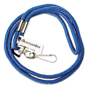 "Rope Lanyard with Hook, 36"", Nylon, Blue"