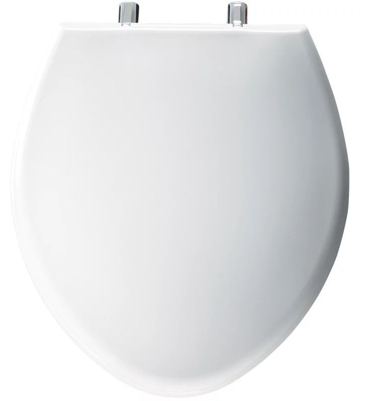 Elongated Bowl / Round Front Plastic Closet Seat Paramont White
