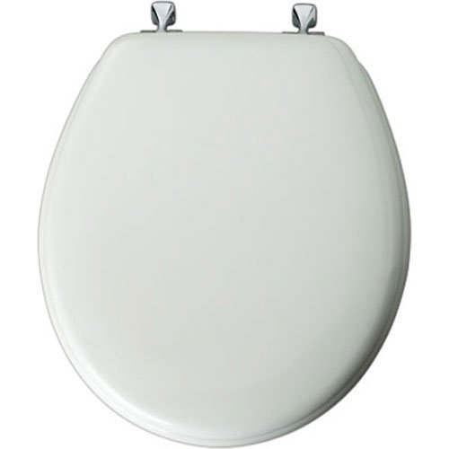 WHITE CHROME ROUND BEVELED EDGE MOLDED WOOD SEAT