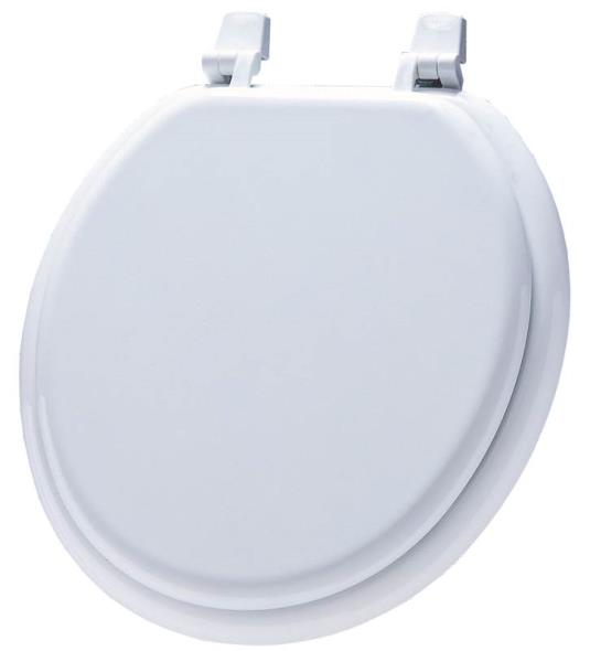 Bemis 7M66 000 Economy Toilet Seat, For Use With Round Bowls, Molded Wood, White