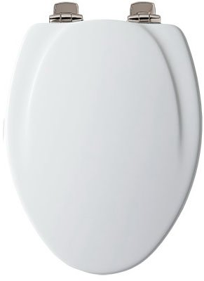 Mayfair 130NISL000 Toilet Seat, For Use With Elongated Bowls, Molded Wood, White