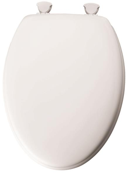 Bemis 144EC-000 Toilet Seat, For Use With Round or Elongated Bowls, Molded Wood, White