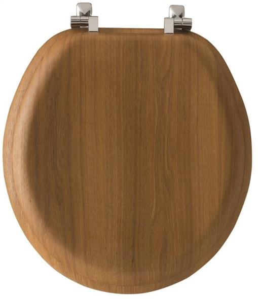 Bemis 9601CP378 Toilet Seat, For Use With Round Bowls, Wood Veneer, Natural Oak