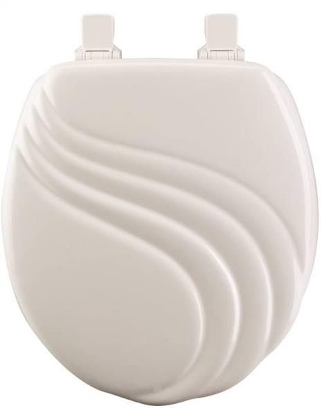 Mayfair 27EC Sculptured Swirl Design Toilet Seat, For Use With Round Bowls 16-1/2 in L, White
