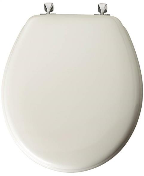 Bemis 44CP-000 Toilet Seat, For Use With Round or Elongated Bowls, Molded Wood, White