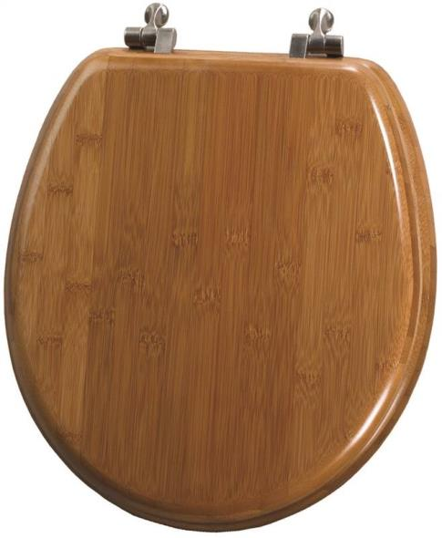 Mayfair 9401NI-568 Toilet Seat, For Use With Round Bowls, Solid Bamboo, Dark Bamboo