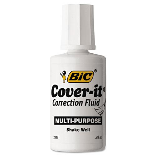Cover-It Correction Fluid, 20 ml Bottle, White, Dozen