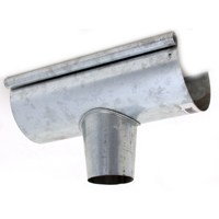 Billy Penn 2509 Half Round Gutter End with Outlet, 3 in D, For Use With 5 in Half Round System