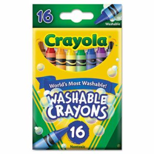 Ultra-Clean Washable Crayons, Regular, 8 Colors, 16/Box