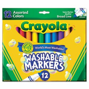 Washable Markers, Broad Point, Classic Colors, 12/Set