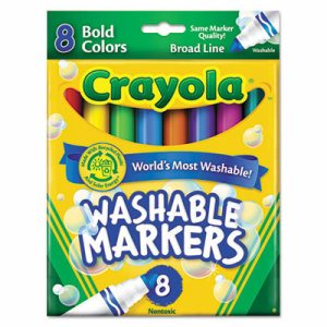 Washable Markers, Broad Point, Bold Colors, 8/Set
