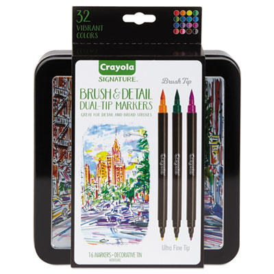 Brush & Detail Dual Ended Markers, X-Fine Brush/Bullet, Assorted Colors, 16/ST