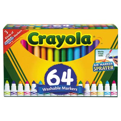 Broad Line Washable Markers, Broad Bullet Tip, Assorted Colors, 64/Set